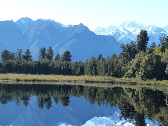 Lake Matheson, Nova Zelândia. Um dos países que ela mais gostou